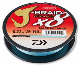 8 нишково плетено Влакно DAIWA J-BRAID GRAND X8 LIGHT BLUE - 135 м - 0.18 мм