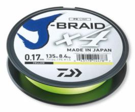 4 нишково плетено влакно Daiwa J-Braid Х4 - 135 метра  - жълто - 0.15 mm PE 1,2