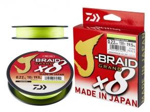 8 нишково плетено влакно Daiwa J-Braid Grand X8E - Ghartreuse - 270m - флуоресцентно-зелено-0.22 мм
