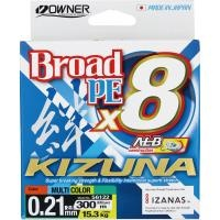 8 нишково плетено влакно Owner KIZUNA x8 300м/ Multicolor  - 2.5 PE (0.21мм)