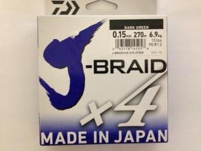 4 нишково плетено влакно Daiwa J-Braid Х4 - 270 м тъмно зелено