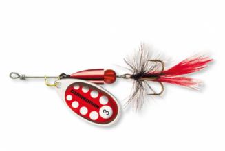 Въртяща блесна с муха BULLET,  цвят сребристо и червено № 2 - 4 грама