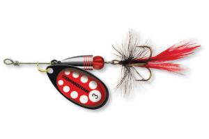 Въртяща се блесна с муха Cormoran BULLET - № 2 - червено/черно