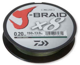 8 нишково плетено влакно Daiwa J- Braid X 8 - 300 m тъмно зелено 0.20 mm