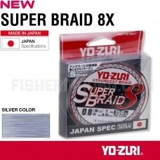 Плетено влакно Super Braid x8 150м YO-ZURI - сиво-сребрист цвят 0.19 mm
