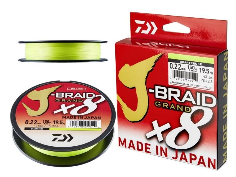 8 нишково плетено влакно  Daiwa J-Braid Grand X8E - Ghartreuse - 135 m - флуоресцентно-зелено 0.06  mm - ре 0.6