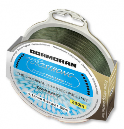 4 нишково плетено Влакно Cormoran Corastrong - 300 м - зелено 4 нишково плетено Влакно Cormoran Corastrong - 300 м - зелено - 0.16 мм