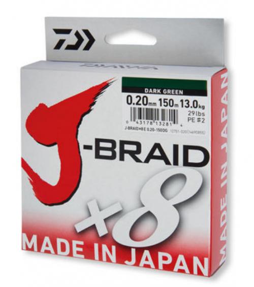 8 нишково плетено влакно Daiwa J- Braid X 8 - 150 m - тъмно зелено 0.06 mm