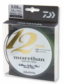 12 нишково плетено влакно Daiwa Morethan12 BRAID EX+SI LG - 135 м - ярко зелено 0.08 mm