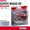 Плетено влакно Super Braid x8 150м YO-ZURI - сиво-сребрист цвят